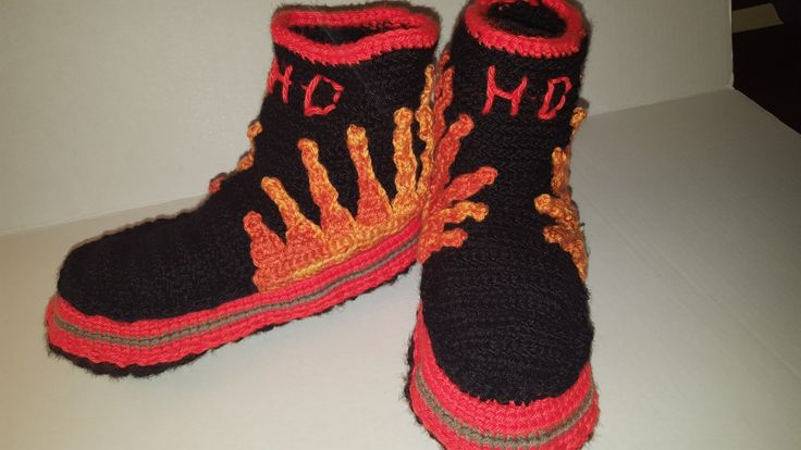 Harley Davidson Flame Boot Slippers