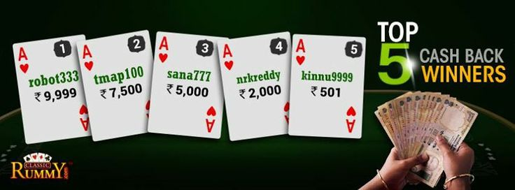 Congratulations to the Top 5 Players of Week #classicrummy !!!Every week Top 5 players will win a share of Rs 25,000 CASHBACK. For more details about the offer check the link below  https://www.classicrummy.com/free-rummy-cash-back-offer?link_name=CR-12