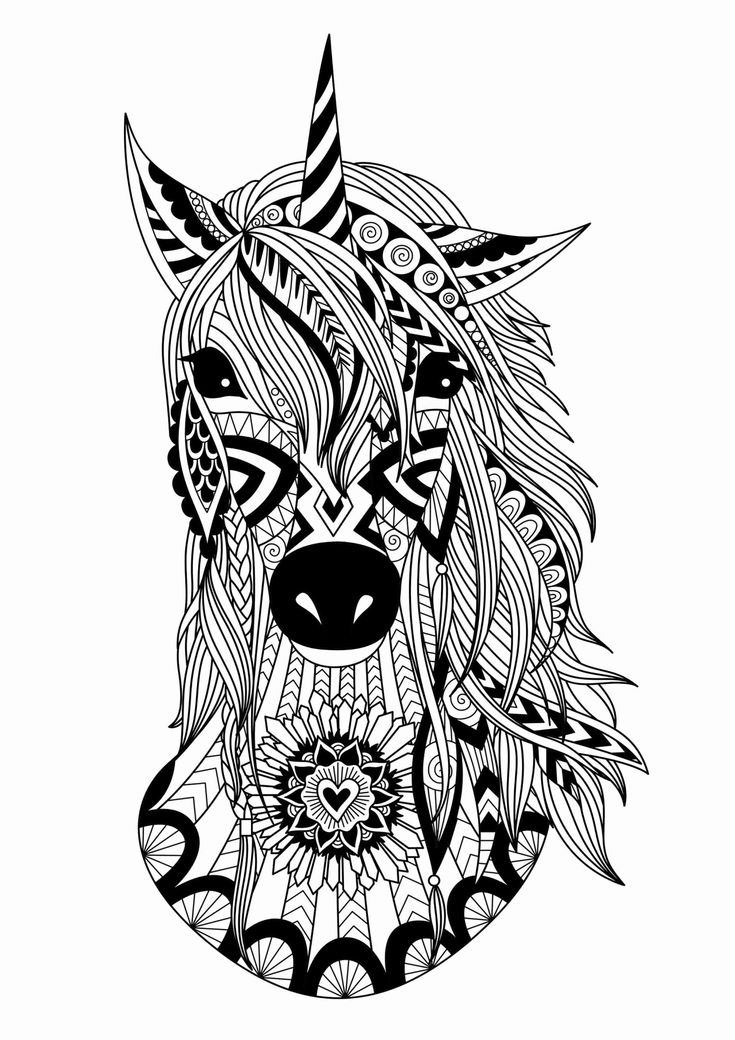 Zentangle Animal Coloring Pages Awesome Unicorn Zentangle ...