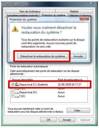 Avant de recycler votre ordinateur, désactiver restauration système
