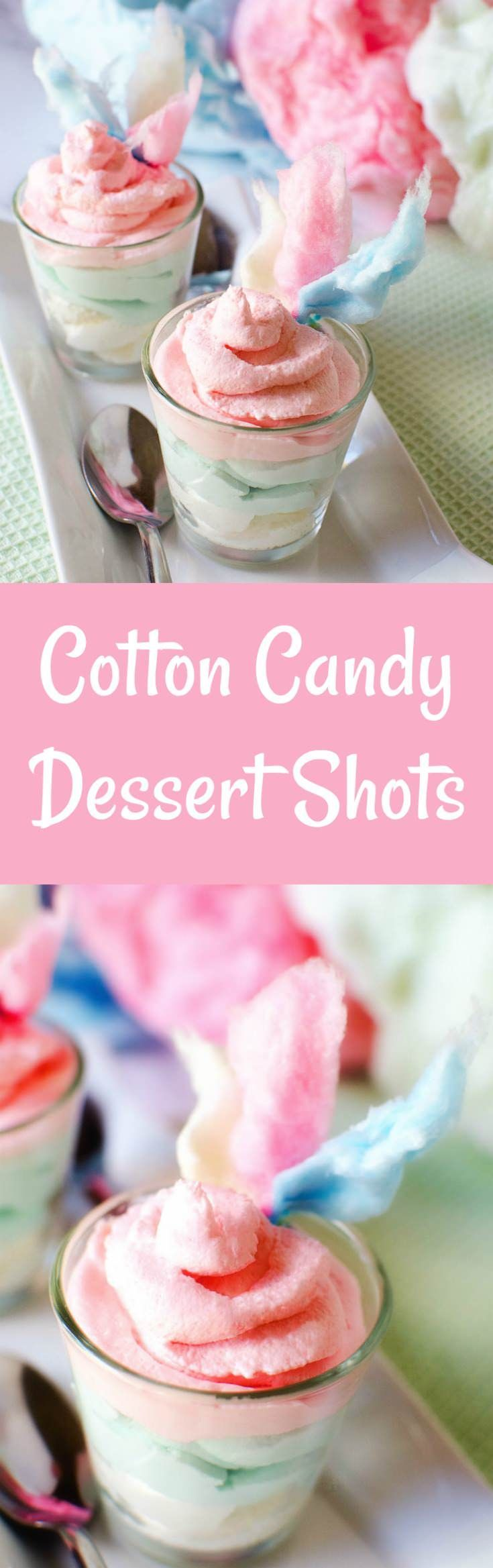 Make these creamy cotton candy dessert shots that will remind you exactly of your favorite state fair food! Perfect for parties - easy and delicious. via @diy_candy