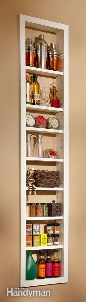 Shelves inside the wall