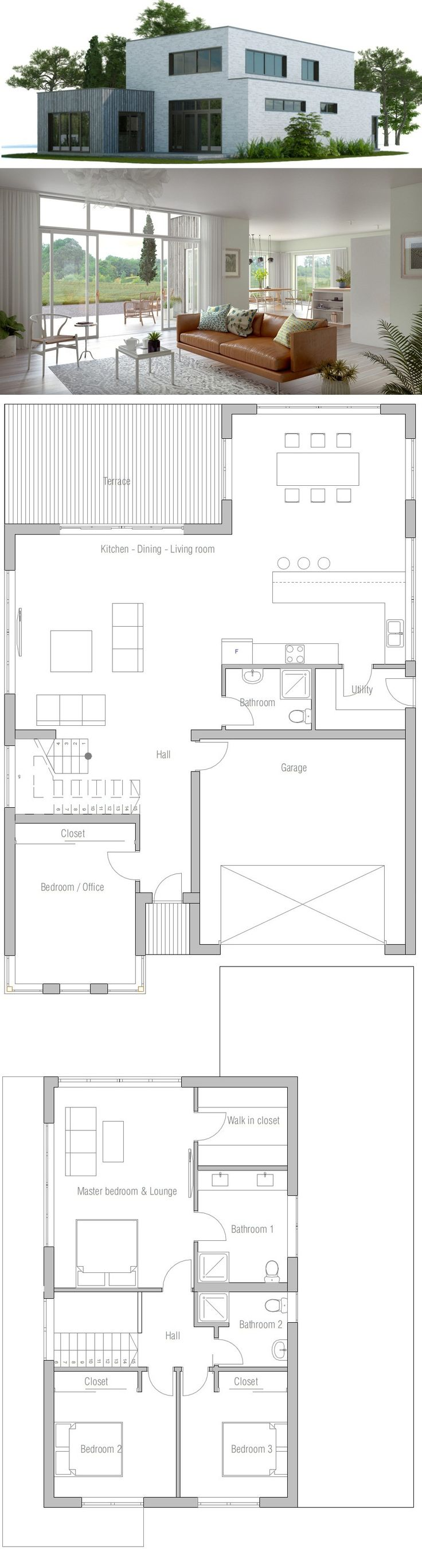 25 best ideas about modern home plans on pinterest house design plans modern floor plans and - Separate garage plans minimalist ...