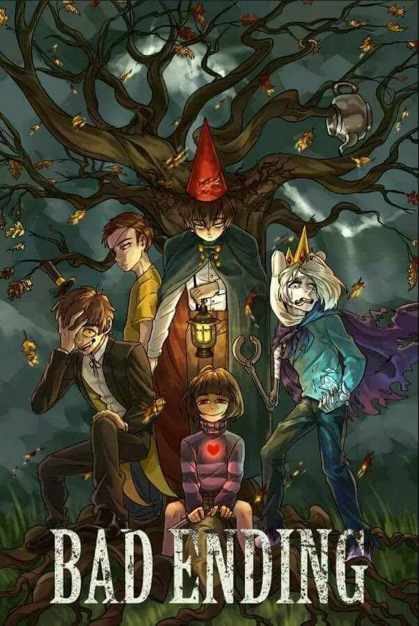 Adventure Time x Over the Garden Wall x Rick and Morty x Gravity Falls x UnderTale.   My favorite shows and video game in one piece of art~