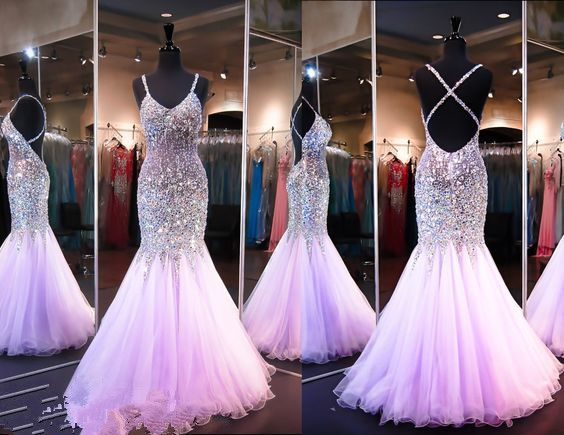 Evening dresses in lilac