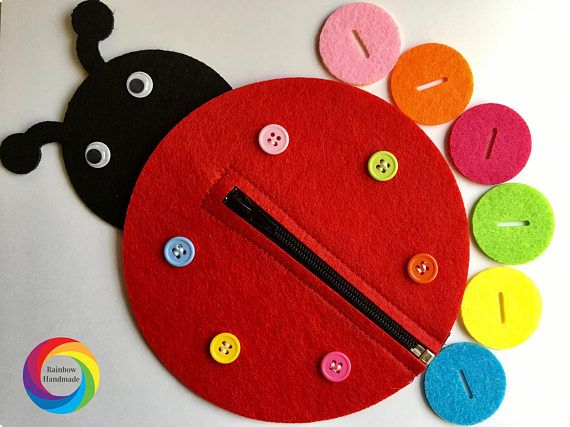 Ladybug Buttoning Busy Bag Toy Color Matching Felt Toys