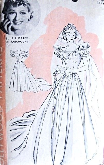 23 best images about wedding bridal patterns on pinterest for 1940s wedding dress patterns
