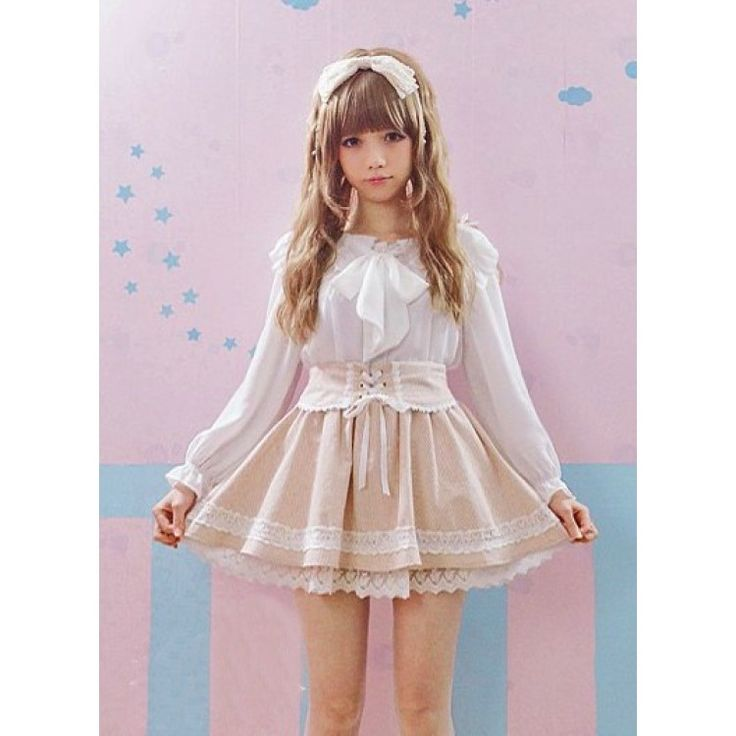 Super kawaii pinstripe light brown strap skirt with under layer lace hem and cute panda lace detail.  Features tie up detail on front and elasticated waist for a fantastic fit. #Kawaii #PinstripeSkirt #LolitaFashion