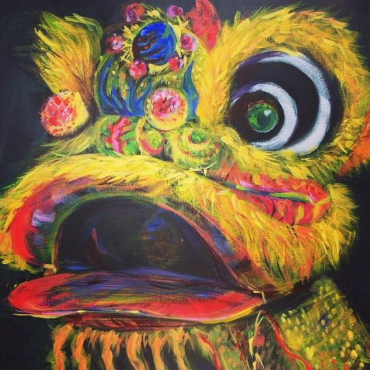 """Lion dance"", acrylic on canvas, Jenny Jump, 2017, Art Is A Form Of Magic"