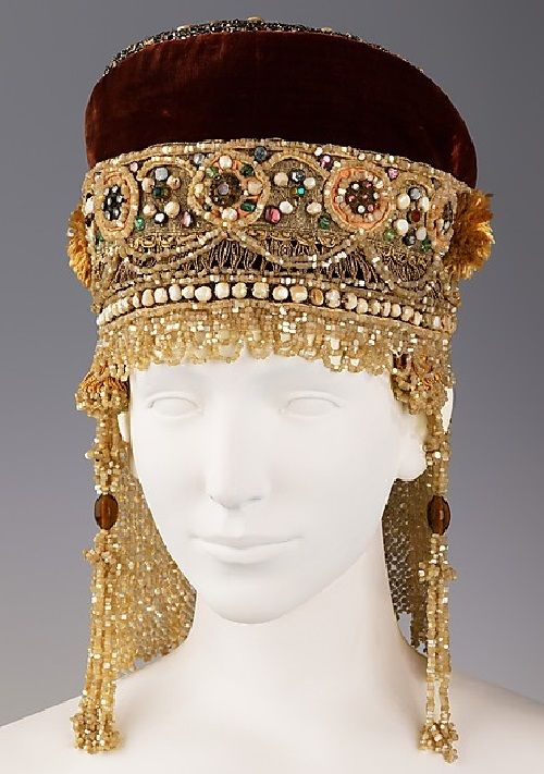 Headdress. Date - 19th century. Medium - silk, metal, mother-of-pearl, pearl. Brooklyn Museum Costume Collection at The Metropolitan Museum ...