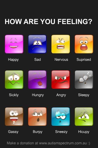 Autism Xpress helps autistic individuals to recognizes and express their emotions through its fun and easy to use interface (see the image above). The 'Autism Xpress' iPhone Application is available for free!