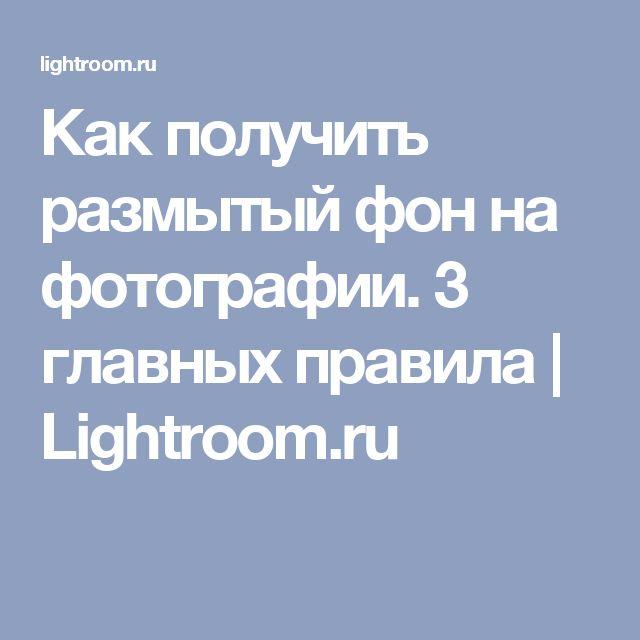 Как получить размытый фон на фотографии. 3 главных правила | Lightroom.ru