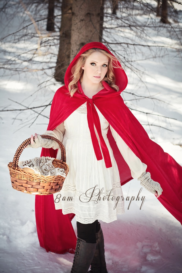little red riding hood winter snow scene with basket and red cape  @Katie Marks