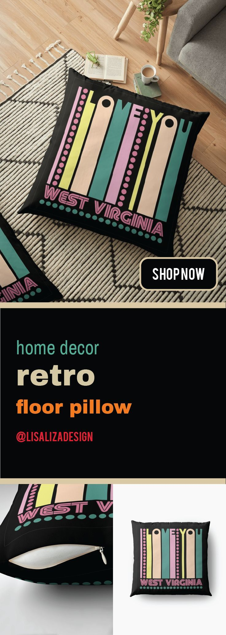 West Virginia I LOVE MY STATE Floor Pillows   This is a the perfect gift ideas for vintage or retro lover.   Receiver of this gift will be most delighted and appreciate your taste of choice.    #FloorPillow #Homedecor #Hugs #Gifts #Largepillow #FloorCushions #holidaygifts #presents #gifts #Retro #Vintage #Oldies #RetroHomeDecor #VintageHomeDecor #Redbubble #Lisaliza #giftideas