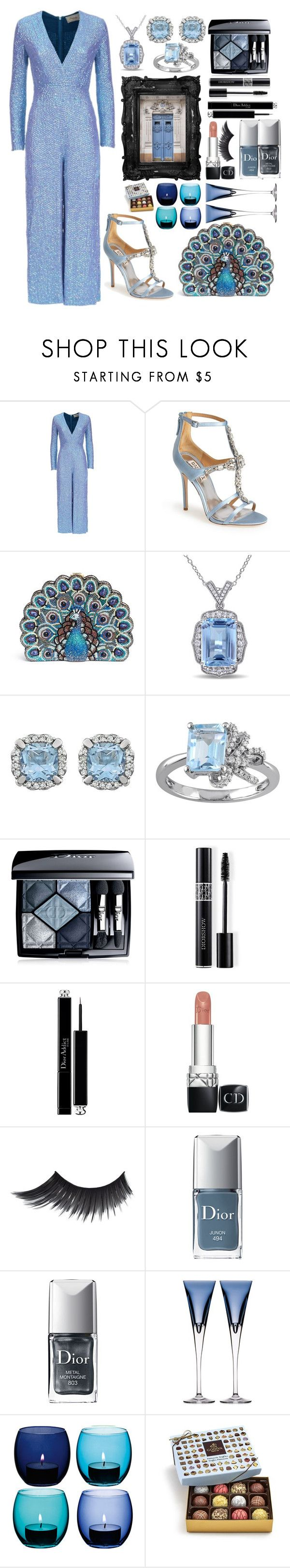 """""""Ice Queen"""" by pulseofthematter ❤ liked on Polyvore featuring Temperley London, Badgley Mischka, Judith Leiber, Miadora, Laura Ashley, Christian Dior, Waterford, LSA International and Godiva"""
