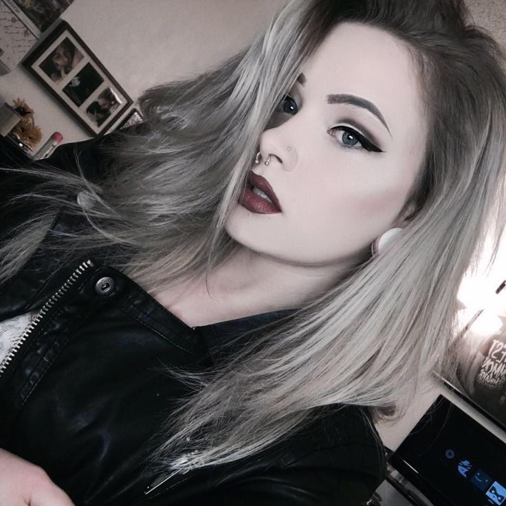 Grunge Girl with Bleached Hairstyle, Septum Piercing and Jacket - http://ninjacosmico.com/24-dyed-hairstyles-try/