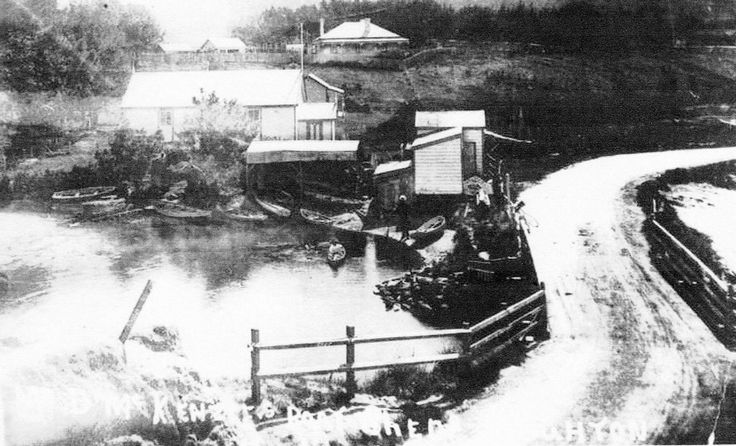 The Brighton bridge about 1875 — before the boatsheds or the church that became the shop.