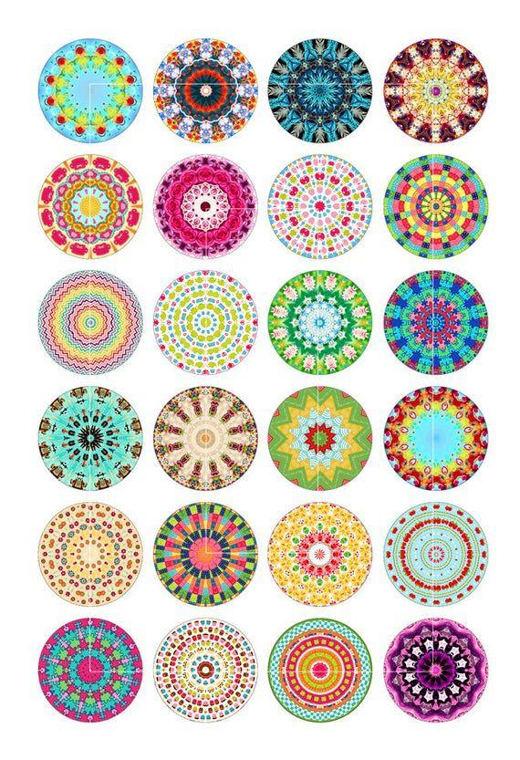 Kaleidoscope Designs Digital Collage Sheet 1 25mm 1 5 Mandala Printable Circle Images For Pendants Instant Download Disenos De Unas Circle Mandala Arte De Tapas De Botella