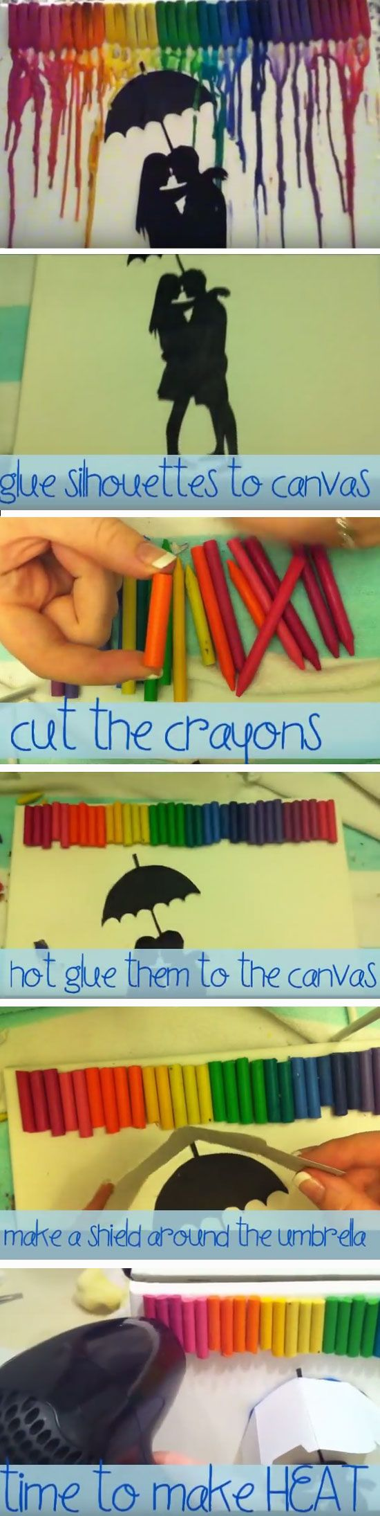 Silhouette Crayon Art | Click Pic for 22 DIY Christmas Gifts for Boyfriends | Handmade Gifts for Men on a Budget