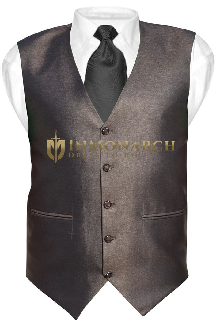 Mens Brown Tuxedo Vest V Style 5 Button