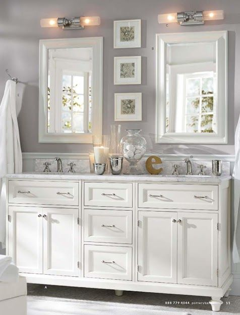 Pottery Barn Classic Modular Double Sink Console With Doors Drawers
