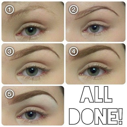 "1. Brush hairs into shape with a spoolie. 2. Define the bottom and ""tail"" of your brow with a cream liner. (Used ELF's cream liner in ""Coffee"".) 2. Lightly fill in your brow with a shadow that goes with your hair color. (2 shades darker if you have light hair, 2 shades lighter if you have dark hair- I used ""Buck"" byUrbanDecay.) Use less nea"