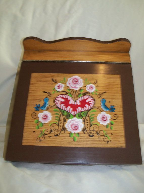 Vintage hand painted wooden lap desk with flowers, birds and a heart