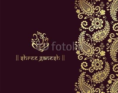 Ganesha, Hindoe bruiloft kaart, koninklijke Rajasthan, India  fotobehang