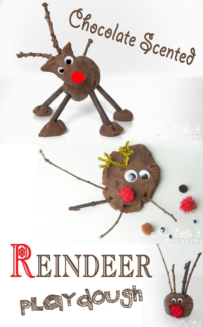 It's official…we adore reindeer! Come and see our new CHOCOLATE SCENTED NO-COOK PLAY DOUGH RECIPE and make your own festive choco-tastic reindeer too. Easy sensory play fun for kids at Christmas!