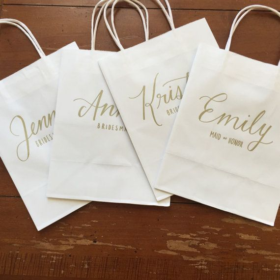 Bridesmaid Gift Bag, Personalized, Bridal Party, Gold, White, Hand-lettered, Customized, Bridesmaid Gift, Groomsmen, Names, Titles