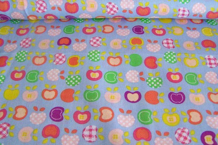 Meterware Kinderstoff Baumwollstoff Druck mini Äpfel Apfel  Punkte Karos