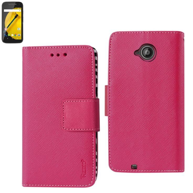 Reiko Wallet Case 3 In 1 For Motorola Moto E Lte (2Nd Generation) Hot Pink With Interior Zebra Pattern+Polymer Cover