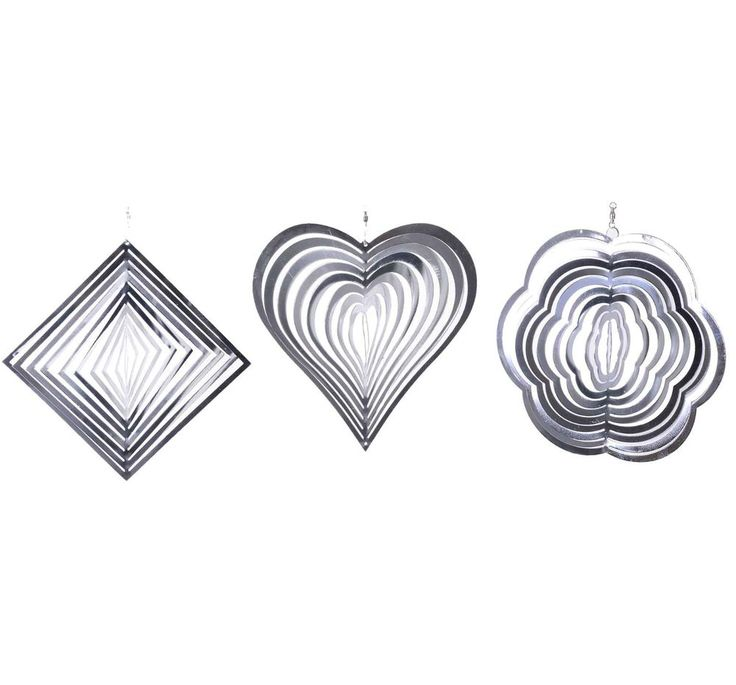 Hanging Metal Garden Stainless Steel Wind Spinners Diamond Flower Heart Set of 3 #Gardens2you