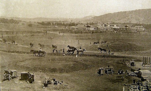 Home - Canberra History WebBreaking the ground for a new city. Workmen working on Canberra's new administrative area, the provisional Parliament House and West Block. The Hotel Canberra, or Hostel No. 1, is in the background. (Mildenhall, circa 1925-26)