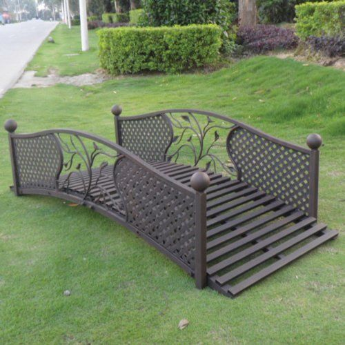 Garden Odyssey 6-ft. Metal Lattice Garden Bridge by Commerce. $499.99. Weight capacity: 250 lbs.. Durable metal construction with lattice. 6-foot length. Decorative and functional bridge. The Garden Odyssey 6-ft. Metal Lattice Garden Bridgeway is the ideal way to accent your backyard. Constructed of durable metal, this bridge adds flair to your outdoor living space, providing a focal point to your garden. Length is 6 feet. Decorative and functional bridge. Durable metal constru...