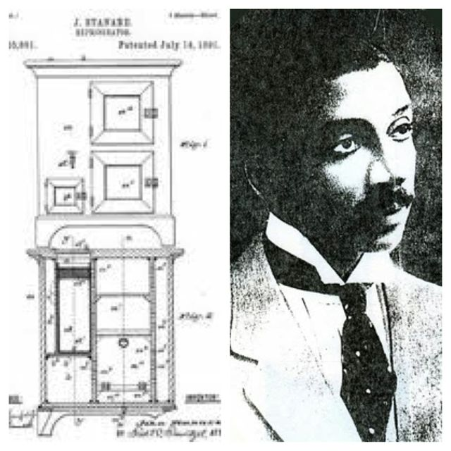 African American Inventor John Standard patented an improved refrigerator design standard (a non-electrical and unpowered design, refrigerator using a manually-filled ice chamber for chilling) on June 14 1891 (U.S. patent #455,891).