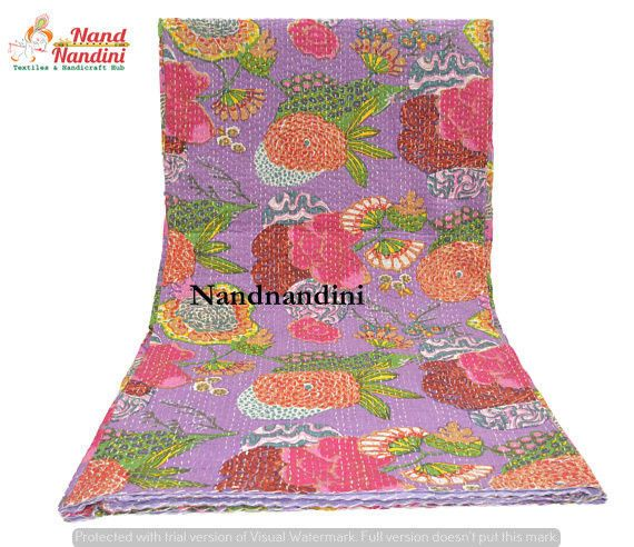 kantha Handmade Vintage Quilt Hippie Home Decor Indian Bedding Cotton Bedspread #Handmade #AsianOriental
