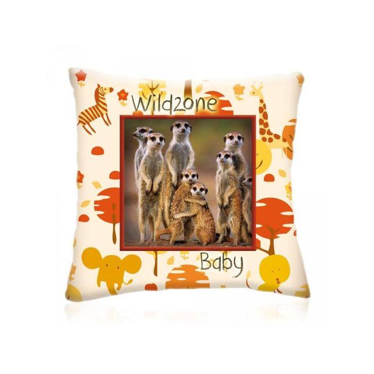 WILD ZONE Baby SZURIKÁTÁK állatos díszpárna 28x28 cm - Díszpárna.com Webáruház
