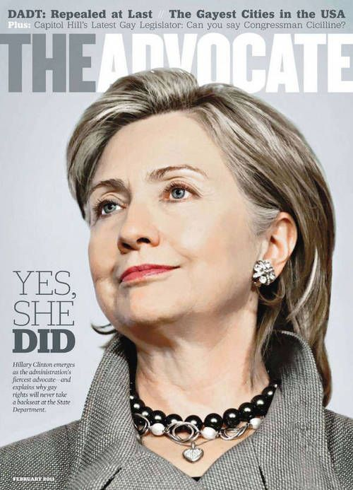 """""""Hillary Clinton emerges as the administration's fiercest advocate -- and explains why gay rights will never take a backseat at the State Department.""""  Hillary Rodham Clinton for President 2016"""