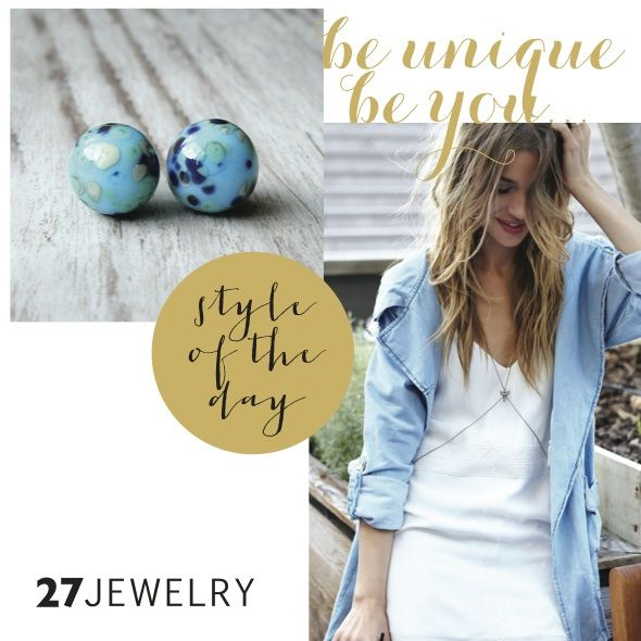 Morning blue sky style Handmade 27jewelry glass stud earrings