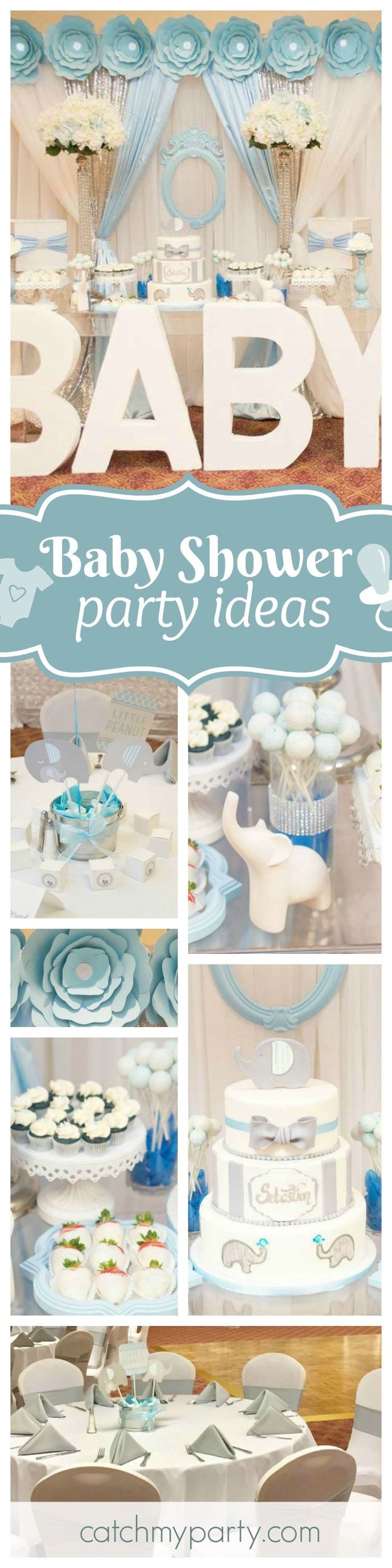 Don't miss this gorgeous Elephant themed baby shower!! The dessert table is so glamorous!! See more party ideas and share yours at CatchMyParty.com
