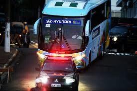 Hyundai Tour Bus Getting A Police Escort In Spain.
