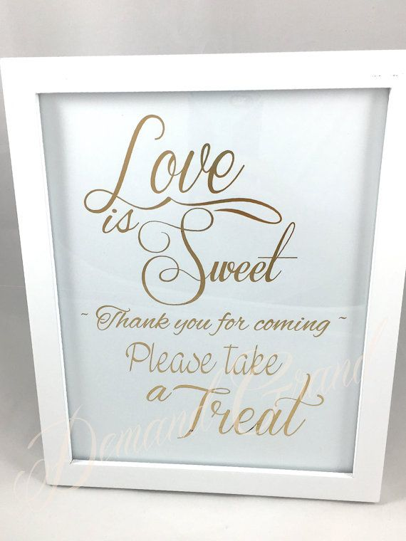 Love is Sweet Take a Treat  Favors Sign 19 color by DemandGrand