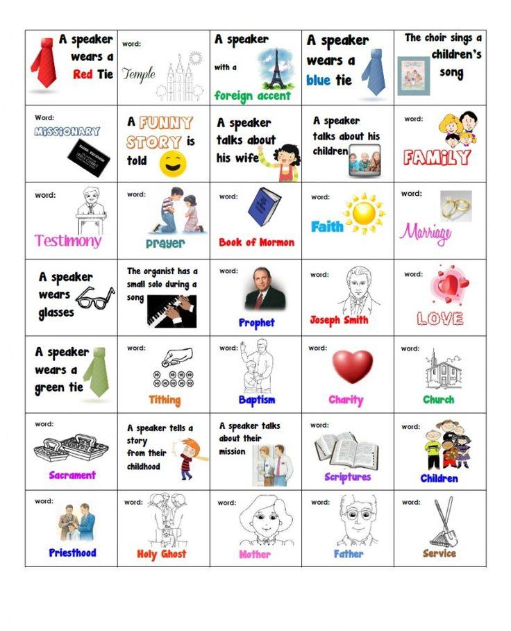 general conference bingo cards, printable general conference bingo cards for kids, lds general conference bingo cards
