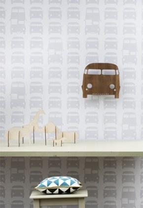 Bussen en auto behang