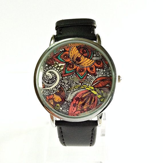 Paisley and Floral  Watch Vintage Style Leather Watch by FreeForme, $12.00