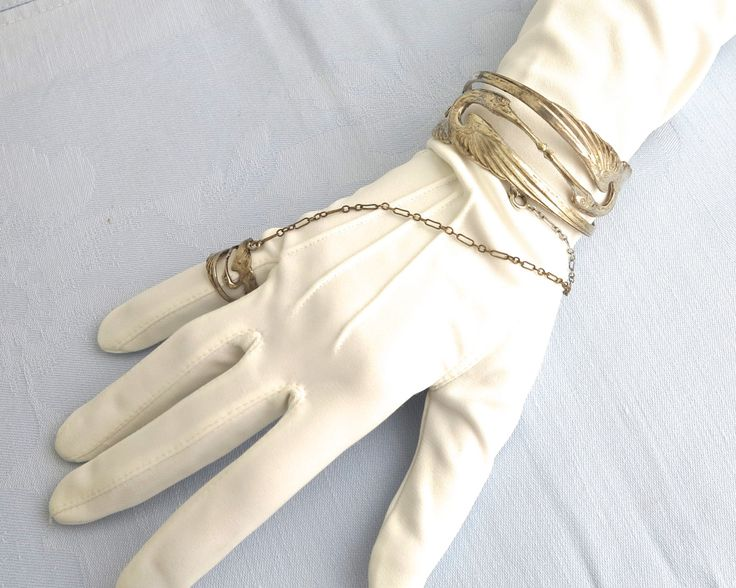 Vintage silver plated cuff bracelet with ring attached with fine chain, lovely…