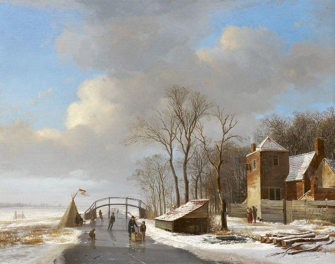 Hendrikus van de Sande Bakhuyzen (1795 – 1860) was een Nederlands etser, tekenaar en kunstschilder en kan worden beschouwd als een van de voorlopers van de Haagse School.  Besneeuwd polderlandschap met schaatsers
