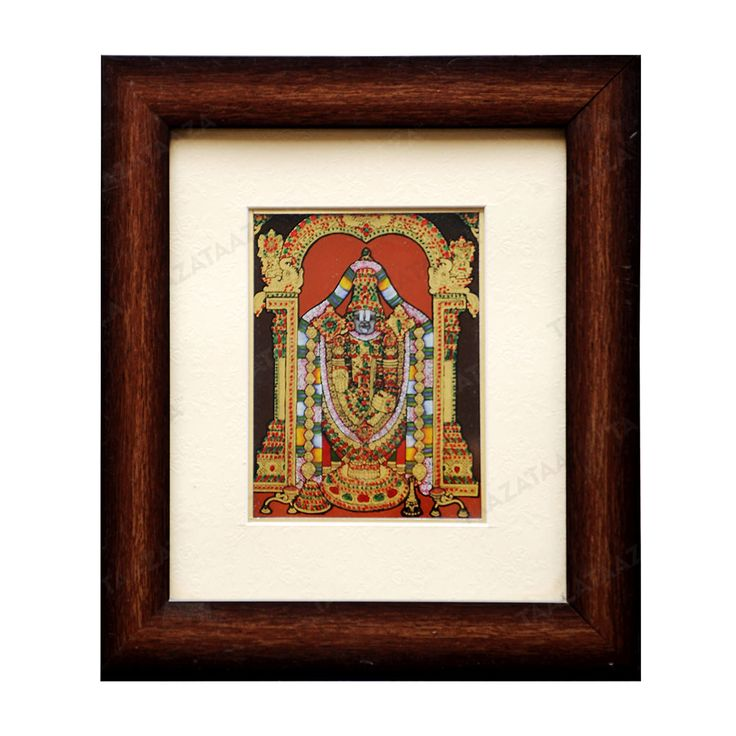 Sri Venkateswara | Glass Painting |  Material: Glass Other Material: Glass colors, Gold powder Dimensions( LxW): 8X10 Inches Package Contents: 1 Sri Venkateswara Painting
