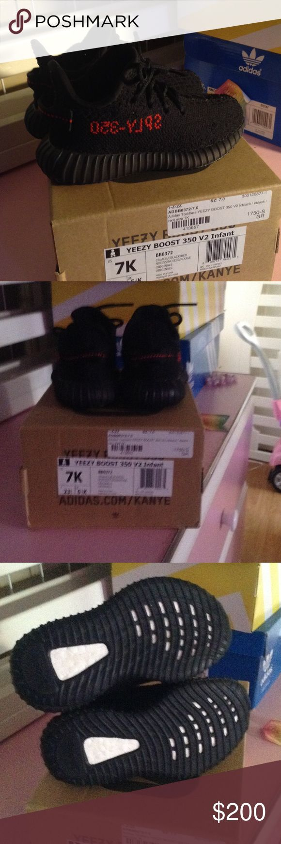 Adidas Yeezy Boost 350 Bred Black Red 7 Kids Adidas Yeezy Boost 350 Size 7K 100% Authentic. Baby just out grew them so fast. Used a couple times can't even tell they are used.                                   Ignore: Adidas Nike Jordan Retro Ultra Boost NMD Shoes Sneakers